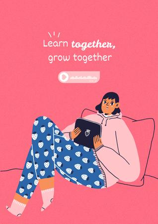 Template di design Girl Power Inspiration with Cute Girl in Bed Poster