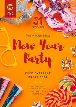 New Year Party Invitation Shiny Decorations