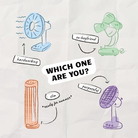 Funny Illustration of Various Ventilators Instagramデザインテンプレート