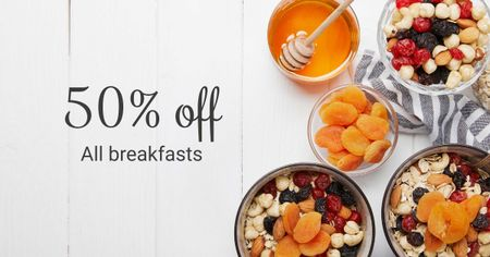 Breakfast Offer Honey and Dried Fruits Granola Facebook AD Design Template