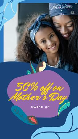 Plantilla de diseño de Mother's Day Sale Offer with Happy Mom and Daughter Instagram Story