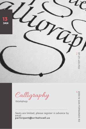Calligraphy workshop Announcement Pinterest Design Template
