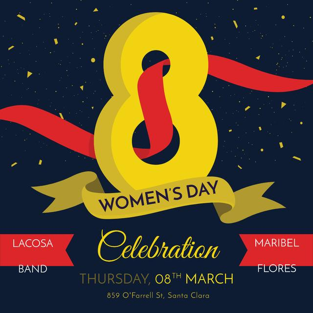 Women's Day greeting with ribbon 8 number Instagram AD Modelo de Design
