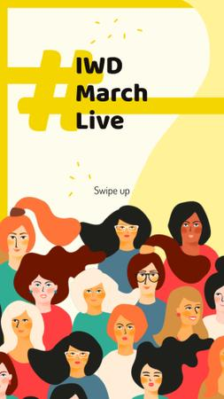 Diverse women portraits for 8 March Instagram Story Modelo de Design