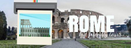 Modèle de visuel Meet In Ancient Rome in famous Places - Facebook Video cover