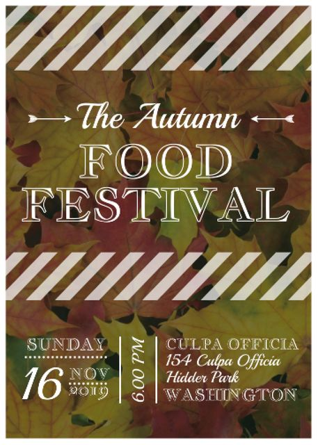 Autumn food Festival ad on Yellow Leaves Flayer – шаблон для дизайну