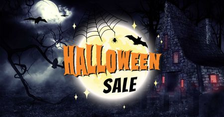 Ontwerpsjabloon van Facebook AD van Halloween Sale Ad with Dark Scary Night