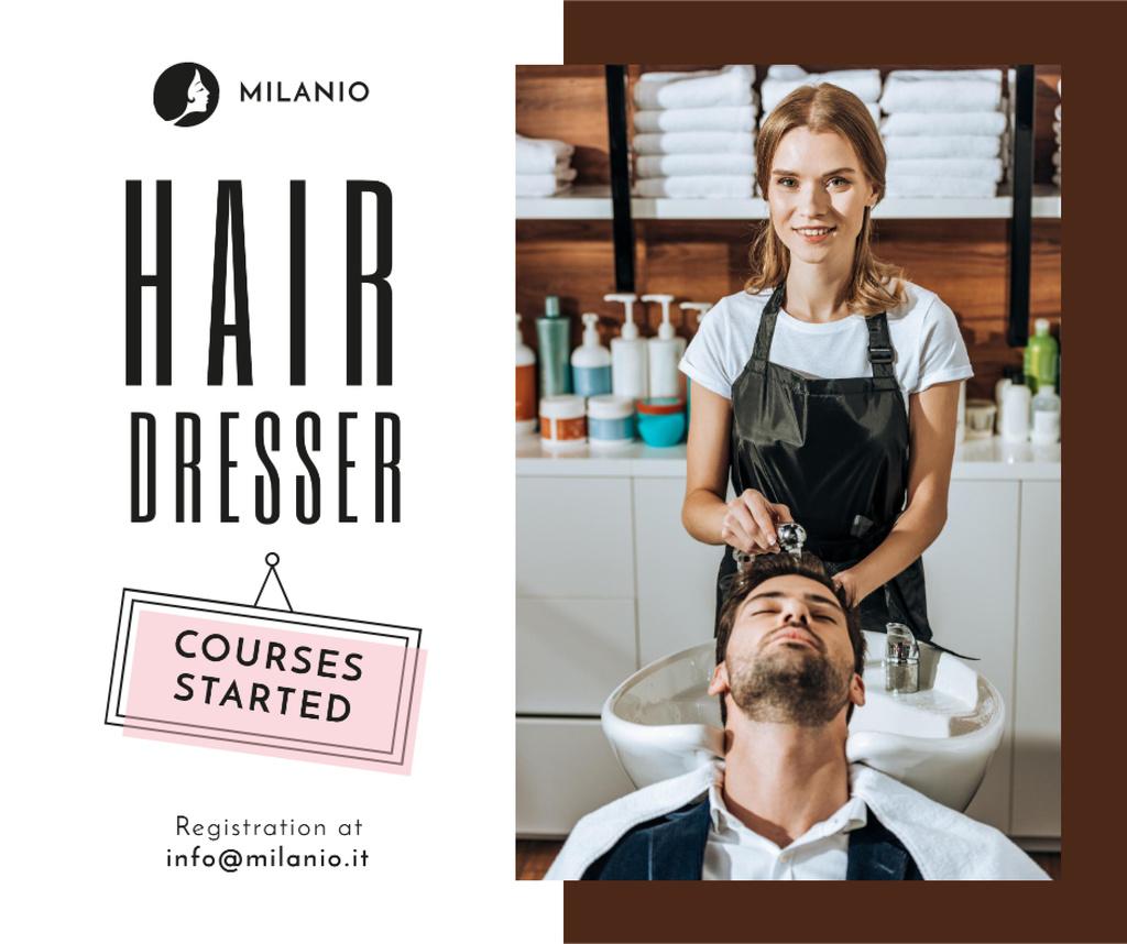 Modèle de visuel Hairdressing Courses stylist with client in Salon - Facebook