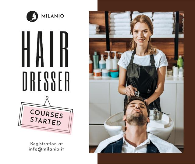 Ontwerpsjabloon van Facebook van Hairdressing Courses stylist with client in Salon