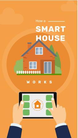 Ontwerpsjabloon van Instagram Story van Smart home application on screen