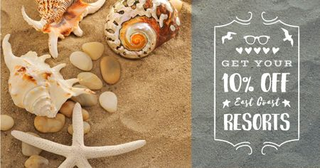 Template di design Travel tour sale with Shells on Sand Facebook AD
