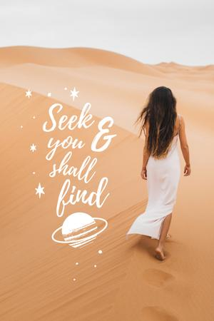 Inspirational Phrase with Woman in Desert Pinterest Design Template
