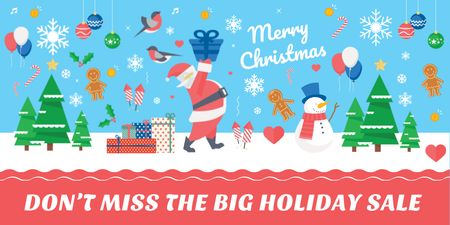Christmas Holiday Sale with Santa Delivering Gifts Twitterデザインテンプレート