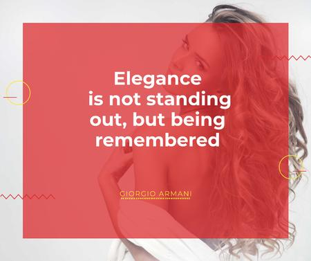 Elegance quote with Young attractive Woman Facebook Modelo de Design