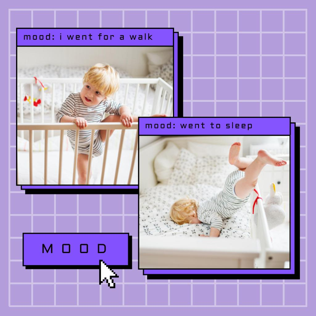 Cute Little Child in Cot Instagram Modelo de Design