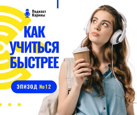 Education Podcast Ad Woman in Headphones Facebook – шаблон для дизайна