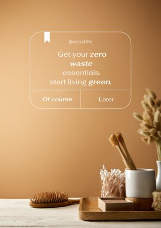 Zero Waste Concept with Wooden Toothbrushes Poster Design Template
