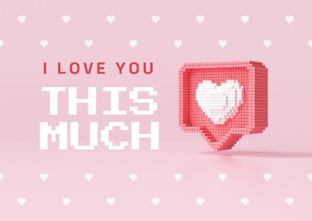 Cute Love Phrase with Heart Sticker Card – шаблон для дизайна