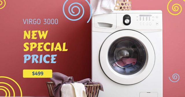 Ontwerpsjabloon van Facebook AD van Appliances Offer Laundry by Washing Machine