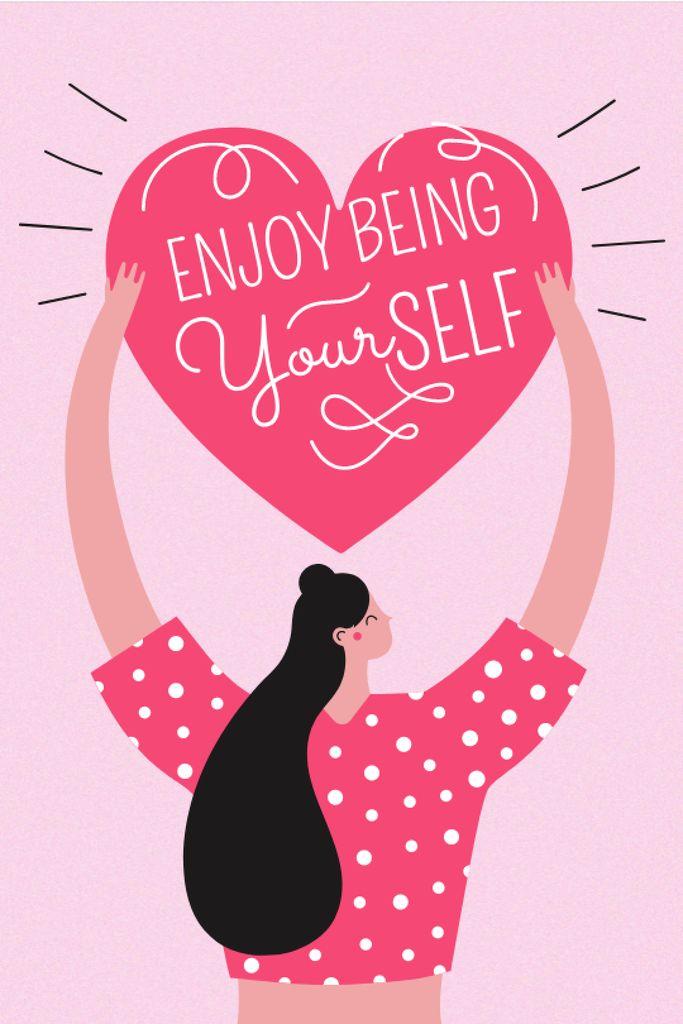 Szablon projektu Girl Power Inspiration with Woman holding Heart Tumblr