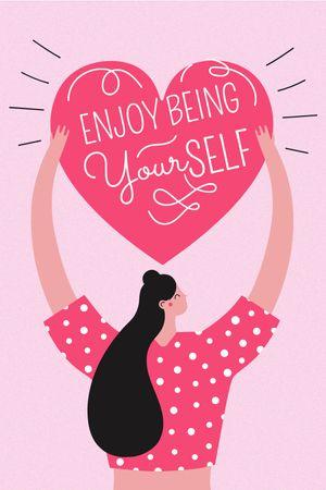Girl Power Inspiration with Woman holding Heart Tumblr tervezősablon