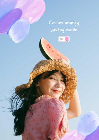 Plantilla de diseño de Mental Health Inspiration with Cute Girl Poster