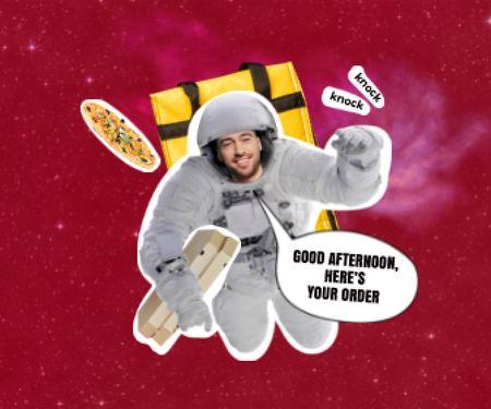 Modèle de visuel Funny Astronaut Delivery Man with Pizza - Large Rectangle