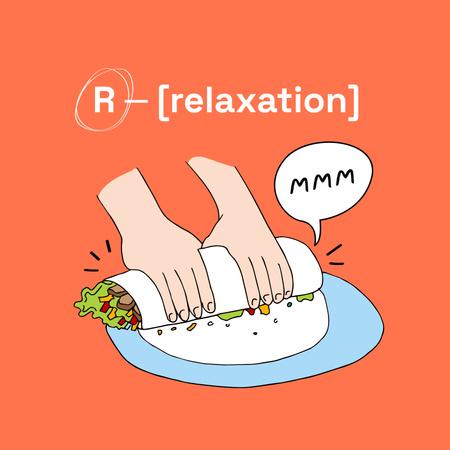 Funny Illustration of making Shawarma Album Cover Modelo de Design