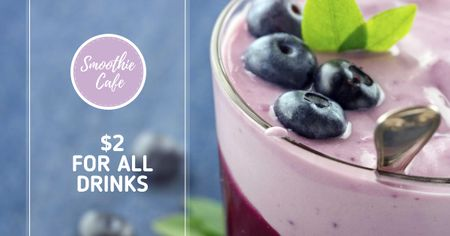 Template di design Smoothie Cafe Advertisement Blueberries Drink Facebook AD
