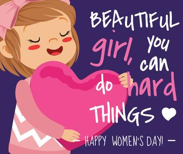 Women's day greeting girl with Heart