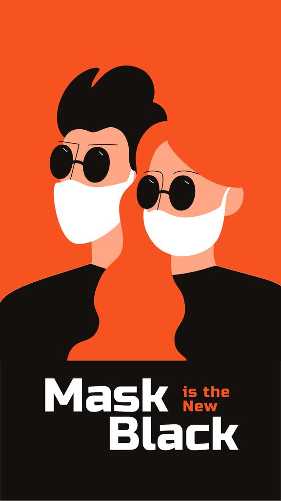 Couple in medical masks during Quarantine — Modelo de projeto