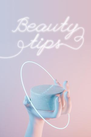 Plantilla de diseño de Beauty Tips Ad with Cosmetic Cream in Hand Pinterest