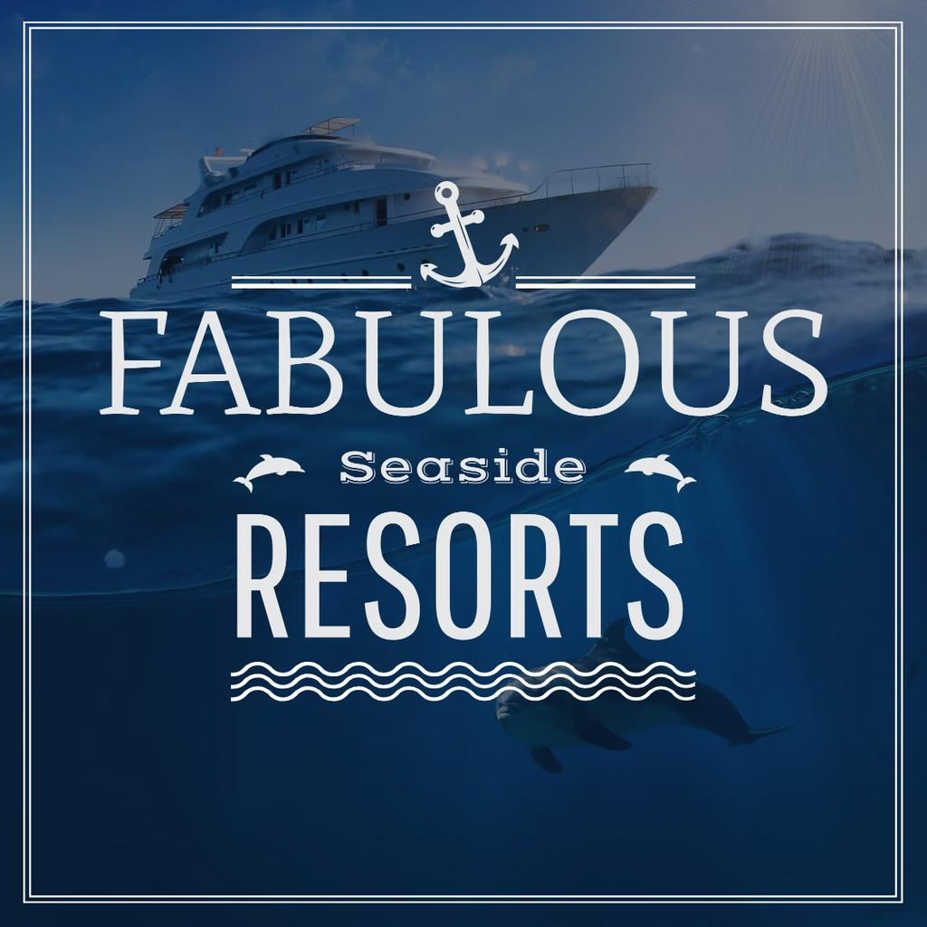 Fabulous Seaside Resorts Ad with Boat at Sea — Crea un design