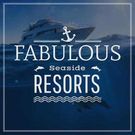 Fabulous Seaside Resorts Ad with Boat at Sea Instagram – шаблон для дизайна