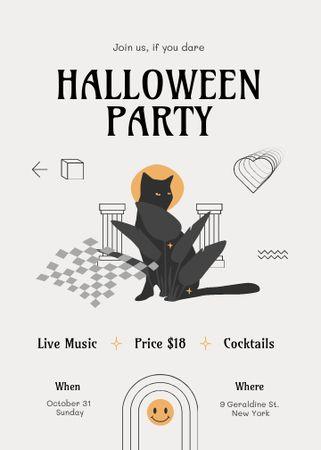 Halloween Party Announcement with Cute Black Cat Invitation – шаблон для дизайна