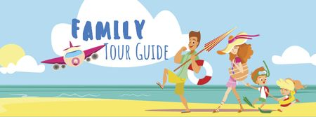 Tour Guide Offer with Funny Family on Beach Facebook coverデザインテンプレート