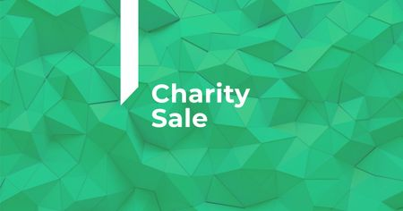 Charity Sale Announcement on Green Abstract Pattern Facebook AD Modelo de Design