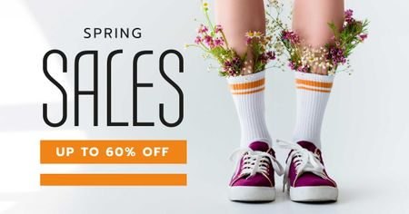 Designvorlage Shoes Store Offer with Flowers in Gumshoes für Facebook AD