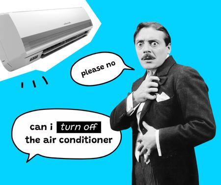 Ontwerpsjabloon van Facebook van Funny Joke about turning off Air Conditioner