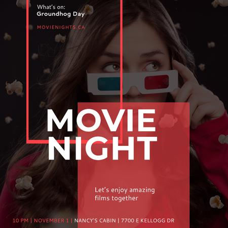 Movie Night Ad with Girl in Cinema Instagram Modelo de Design
