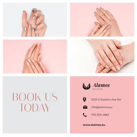 Plantilla de diseño de Manicure Salon Ad Female Hands with Shiny Nails Instagram