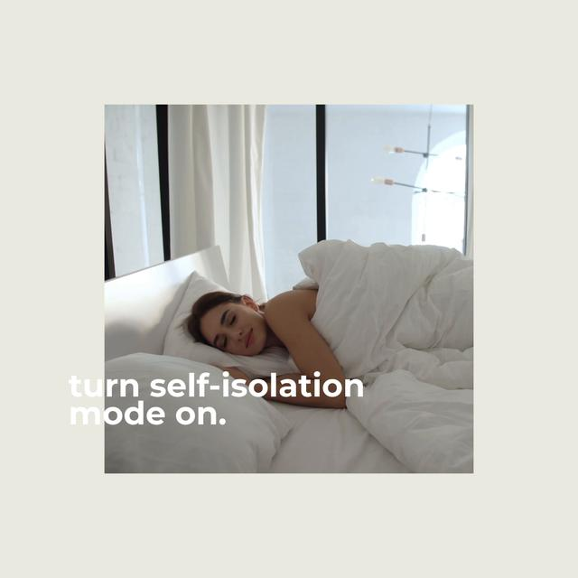 Woman on Self-Isolation wallowing in bed Animated Postデザインテンプレート