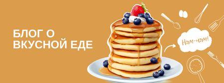 Food Blog Ad with Sweet Pancakes Facebook Video cover – шаблон для дизайна