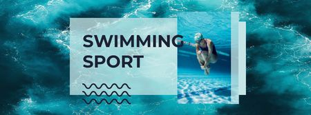 Swimming Sport Ad with Swimmer in Pool Facebook cover – шаблон для дизайну