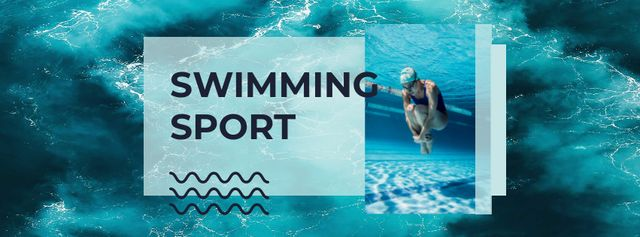 Modèle de visuel Swimming Sport Ad with Swimmer in Pool - Facebook cover