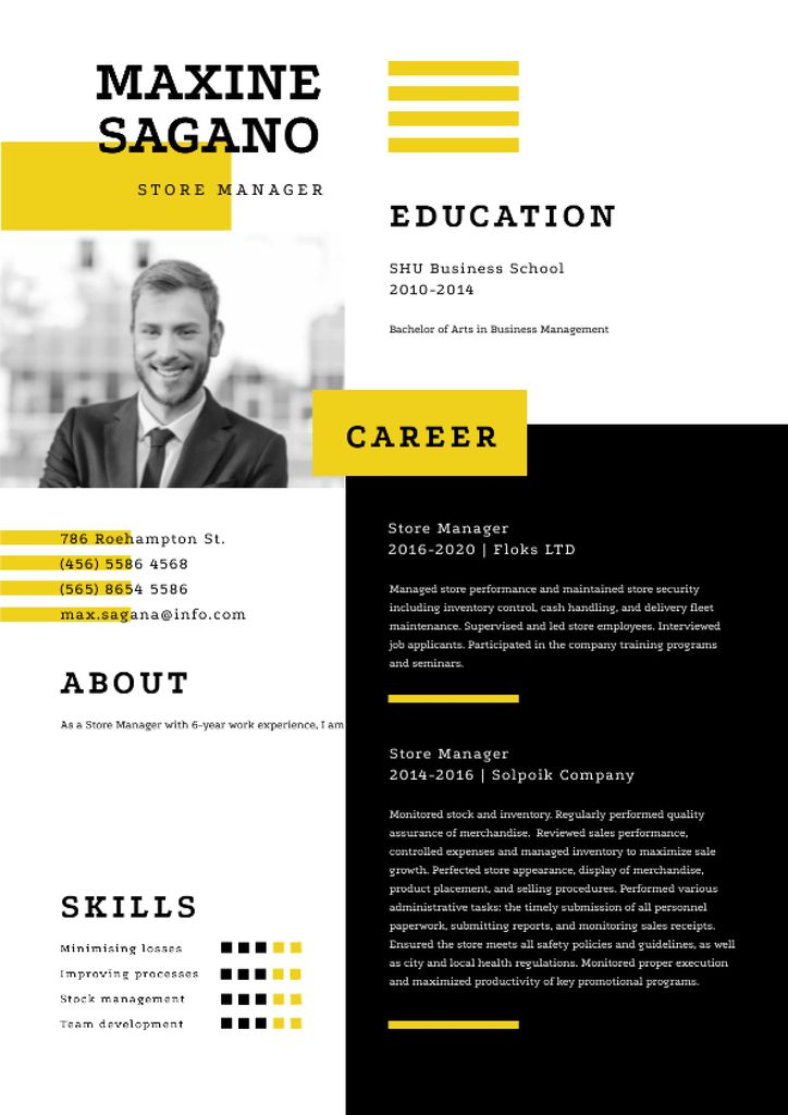 Store manager skills and experience Resume Modelo de Design