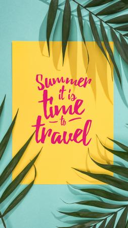Szablon projektu Summer Travel Inspiration on Palm Leaves Instagram Story