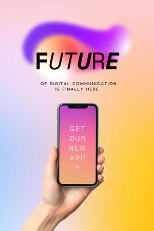 Designvorlage New App Ad with Smartphone in Hand für Pinterest