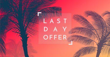 Plantilla de diseño de Summer Trip Offer Palm Trees in red Facebook AD
