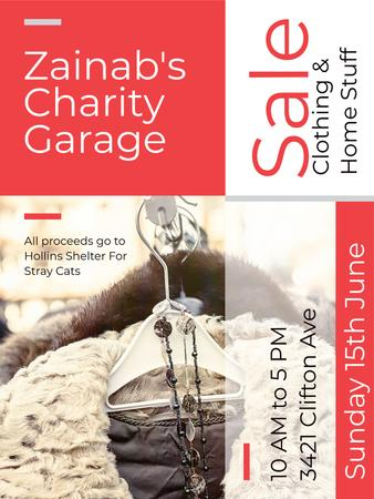 Charity Sale Announcement Clothes on Hangers Poster USデザインテンプレート